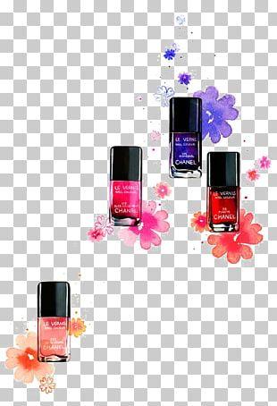 Cosmetics Watercolor Painting Nail Polish Illustration PNG