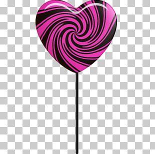 Pink M Heart Lollipop PNG
