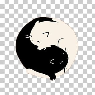 Black Cat Yin And Yang T-shirt PNG