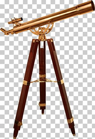 Refracting Telescope Tripod Brass Eyepiece PNG
