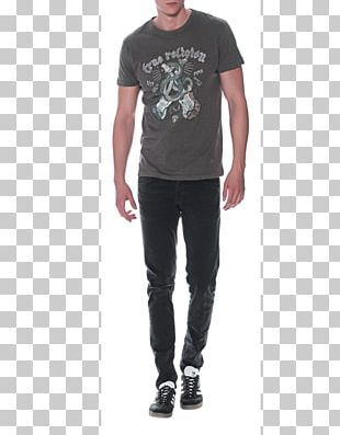 Jeans Printed T-shirt Sleeve Cotton PNG