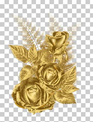 Gold Flower Rose PNG