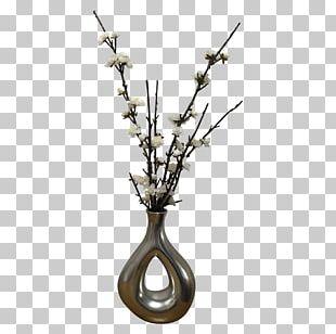 Vase Flower Silver Metal Plant Stem PNG