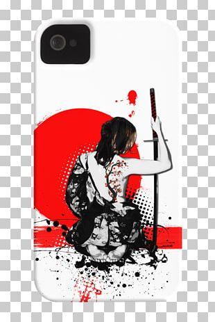 Trash Polka Art Samurai Canvas Print PNG