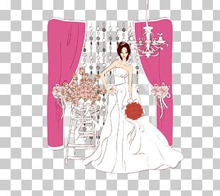 Bride Contemporary Western Wedding Dress Illustration PNG
